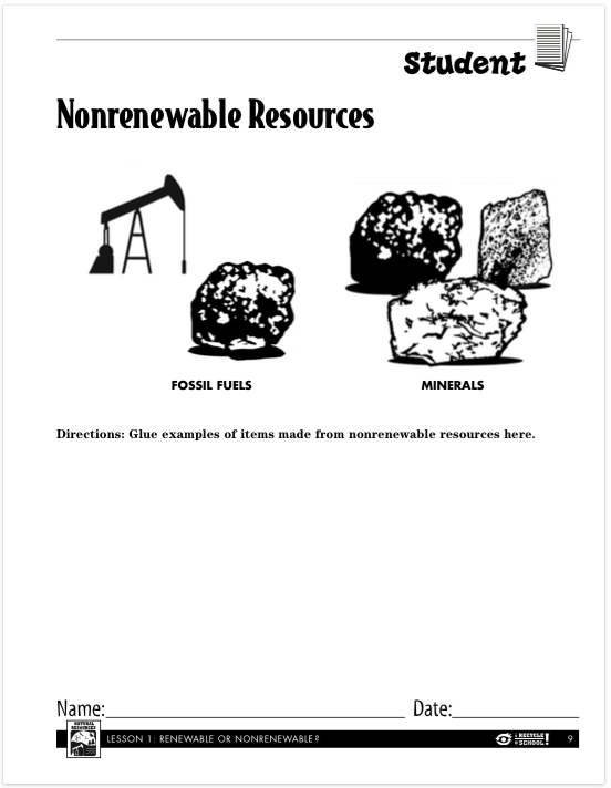 Days 1 3 Lauren Kvalstad – Renewable and Nonrenewable Resources Worksheets