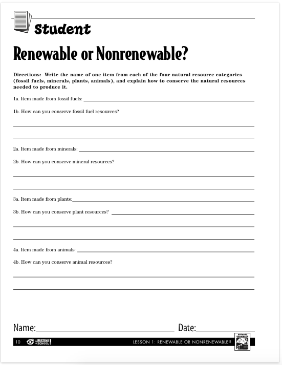 Days 1 3 Lauren Kvalstad – Renewable Vs Nonrenewable Resources Worksheet